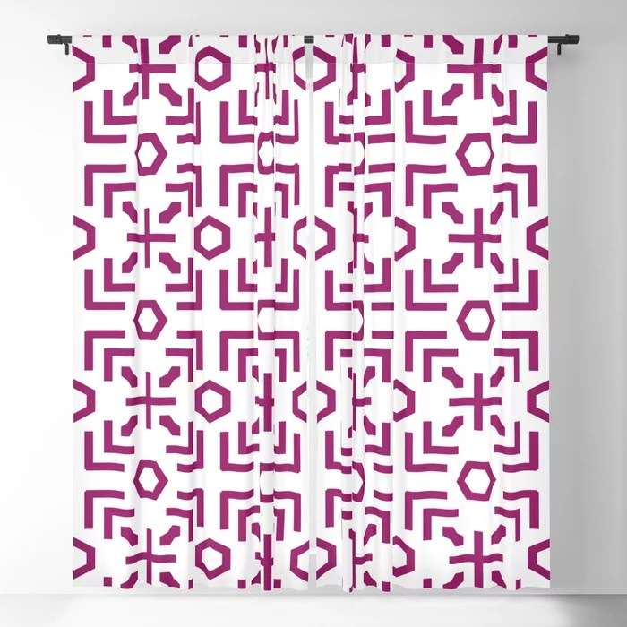 Magenta and White Art Deco Abstract Pattern - Colour of the Year 2022 Orchid Flower 150-38-31 Blackout Curtain - 2022 color trends interior design