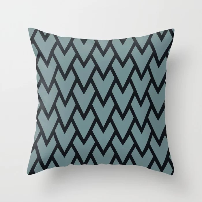 Soft Aqua Blue Black Tessellation Line Pattern 17 2021 Color of the Year Aegean Teal Throw Pillow
