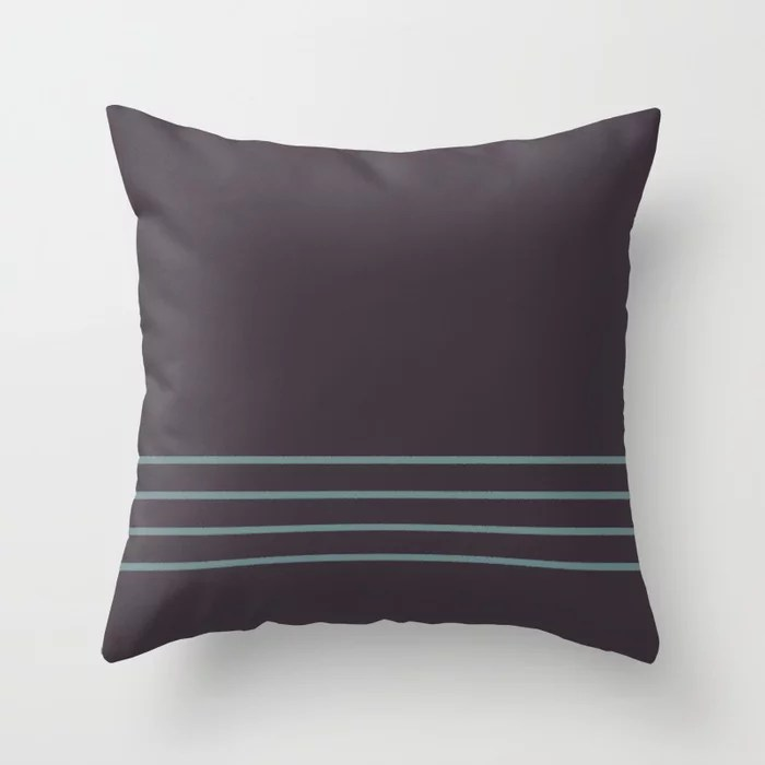 Muted Aqua Purple and Tan Line Pattern 2021 Color of the Year Aegean Teal and Tulsa Twilight Throw Pillow
