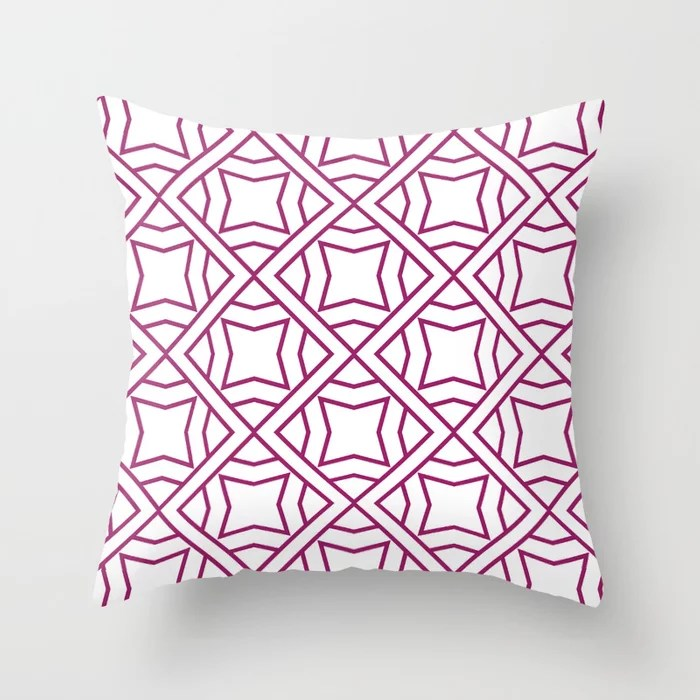 Magenta and White Stripe Cube Tile Pattern - Colour of the Year 2022 Orchid Flower 150-38-31 Throw Pillow