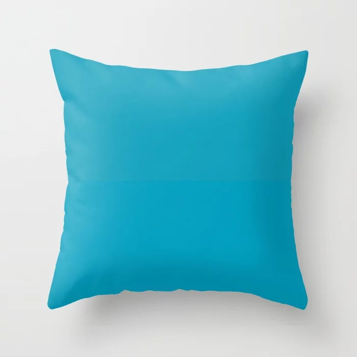 Teal / Turquoise / Blue Green Solid Color Pairs to Coloro 2021 Trending Color AI Aqua 098-59-30 Throw Pillow