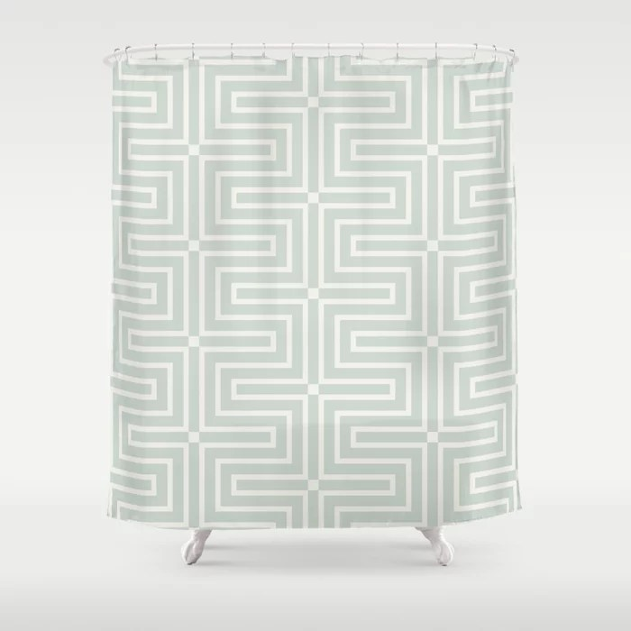 Mint Green and Cream Tessellation Line Pattern 3 Behr 2022 Color of the Year Breezeway MQ3-21 Shower Curtain. 2022 color trend