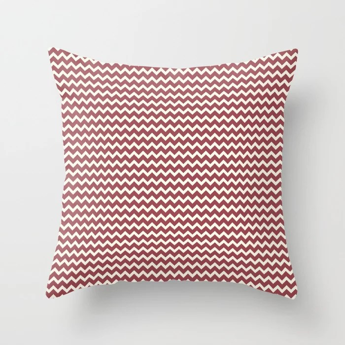Red and Off White Chevron Zigzag Line Pattern 2021 Color of the Year Passionate & Bohemian Lace Throw Pillow