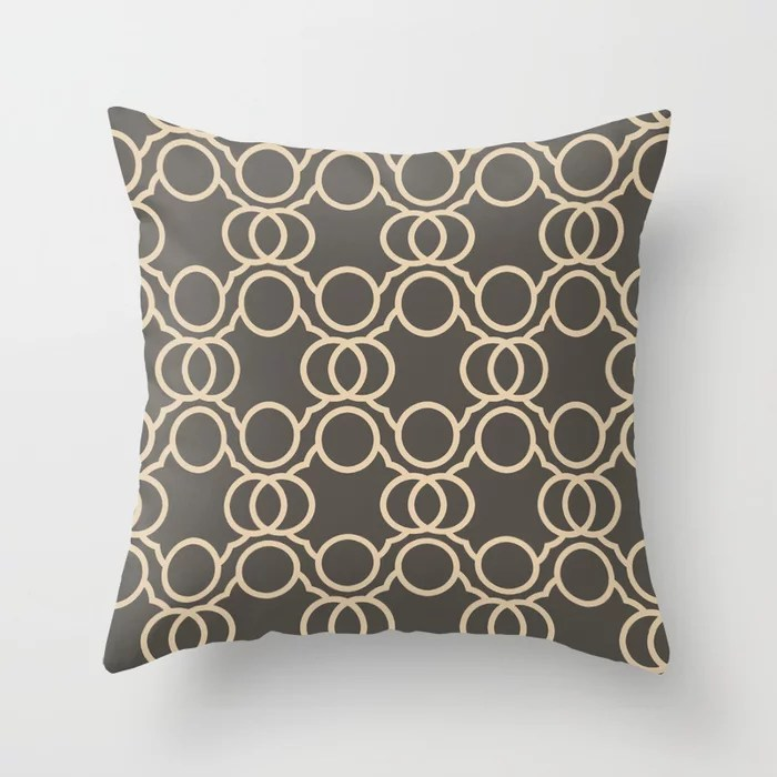 Brown And Buff Beige Geometric Circle Pattern V2 Throw Pillows Match Sherwin Williams Paints 2021 Color of the Year Urbane Bronze and Ivoire
