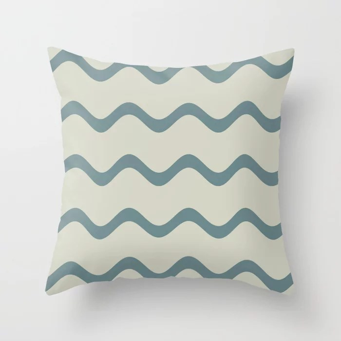Muted Aqua and Beige Rippled Stripe Pattern 2021 Color of the Year Aegean Teal and Sweet Spring Throw Pillow