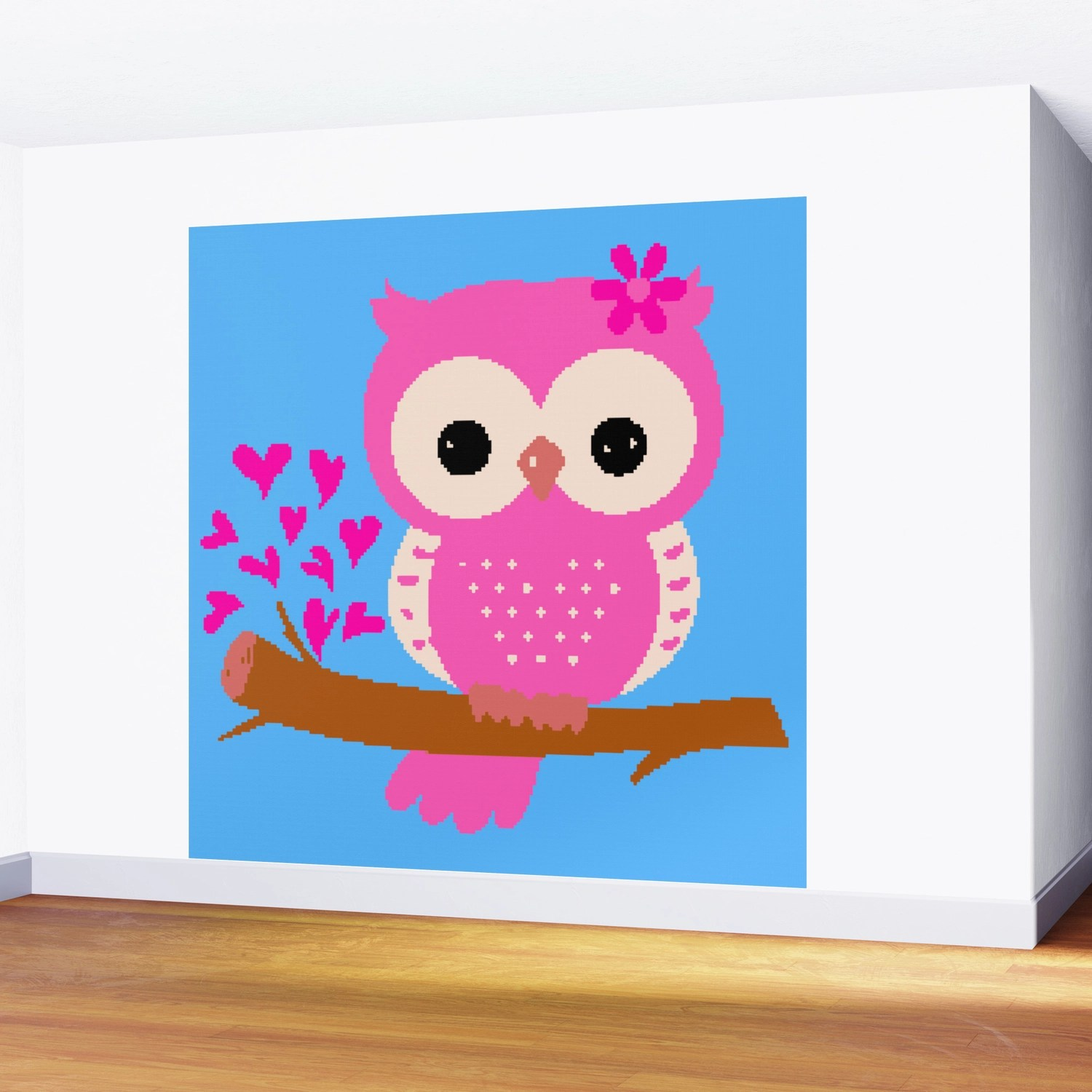 Pink Owl On A Branch 8 Bit Pixel Art Wall Mural By Rustytaylor Society6