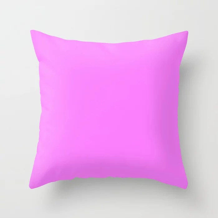 From The Crayon Box – Shocking Pink - Bright Pink Purple Solid Color Throw Pillow