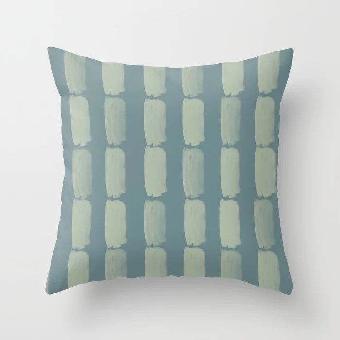 Blue-Green Minimal Grid Brushstroke Pattern 2021 Color of the Year Aegean Teal Salisbury Green Throw Pillow