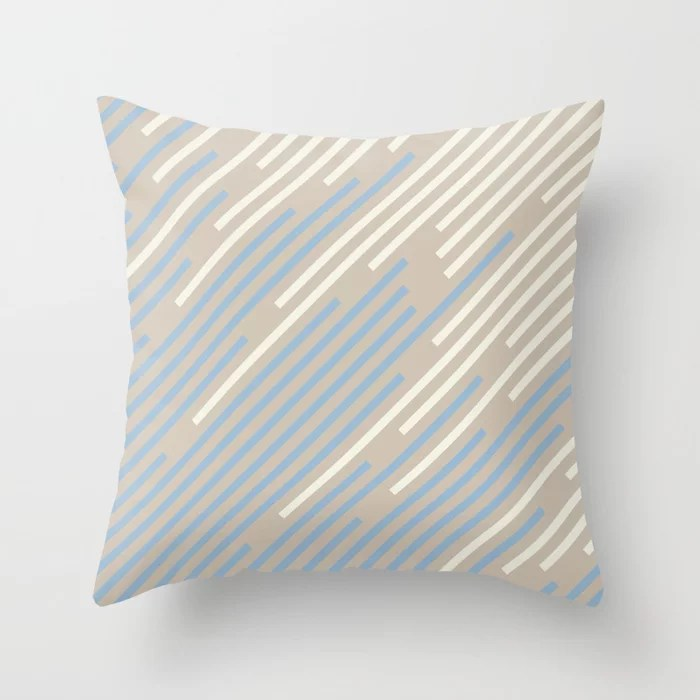Pastel Blue Off White Beige Off-set Stripe Pattern Throw Pillows inspired by and pairs to (matches / coordinates with) Dutch Boy 2021 Color of the Year Earth's Harmony & Accents