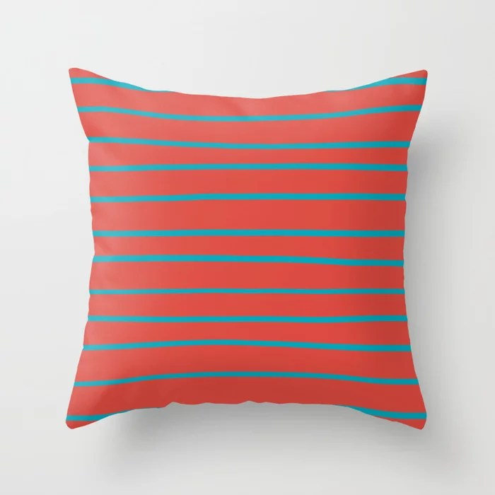 Aqua Blue and Red Stripe Pattern 2021 Color of the Year AI Aqua and Oxy Fire Throw Pillow