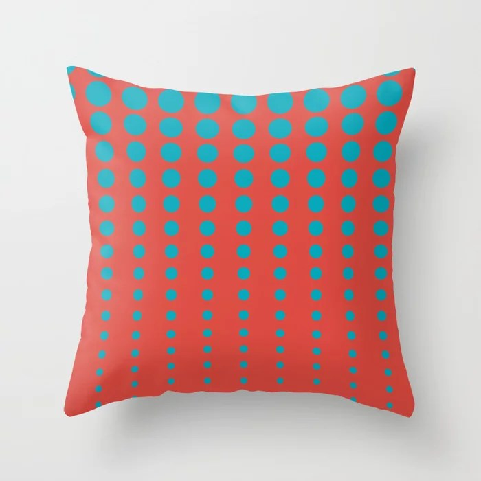 Aqua Blue and Red Reduced Polka Dot Pattern 2021 Color of the Year AI Aqua and Oxy Fire Throw Pillow