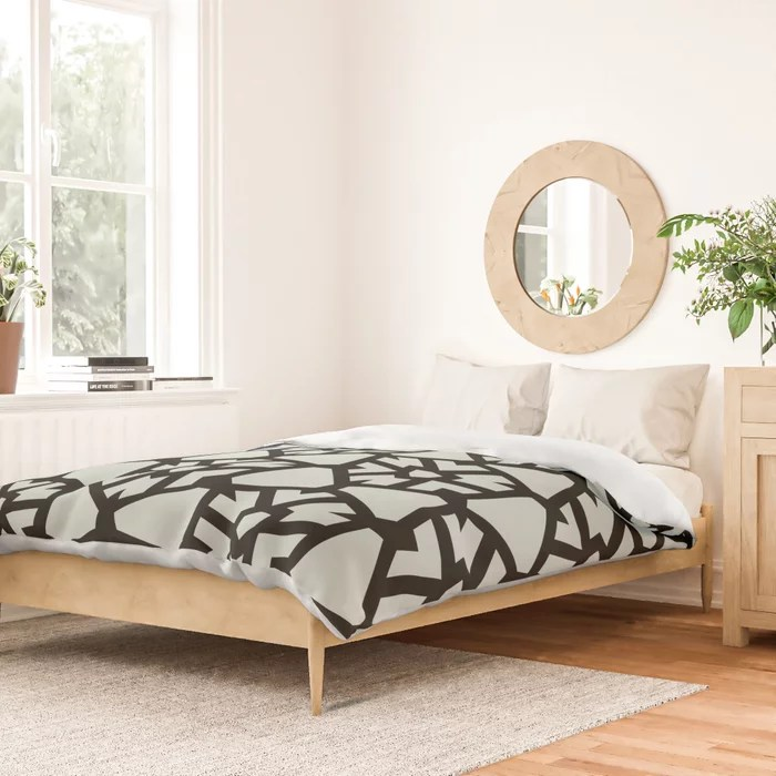 Pastel Green and Black Shield Tile Pattern Pairs Behr 2022 Color of the Year Breezeway MQ3-21 Duvet Cover. 2022 color trend