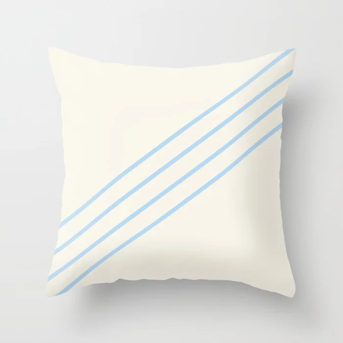 Baby Blue Off-White 4 Stripe Diagonal Pattern 2021 Color of the Year Wild Blue Yonder Swiss Coffee Throw Pillow