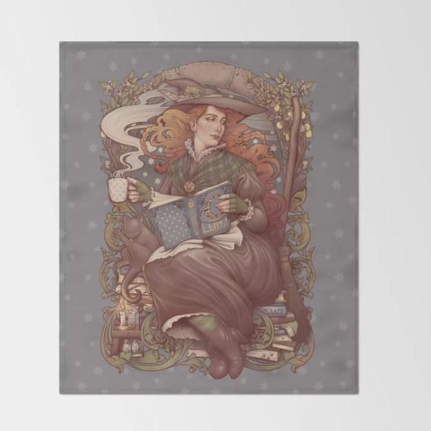 NOUVEAU FOLK WITCH Throw Blanket by Medusa Dollmaker