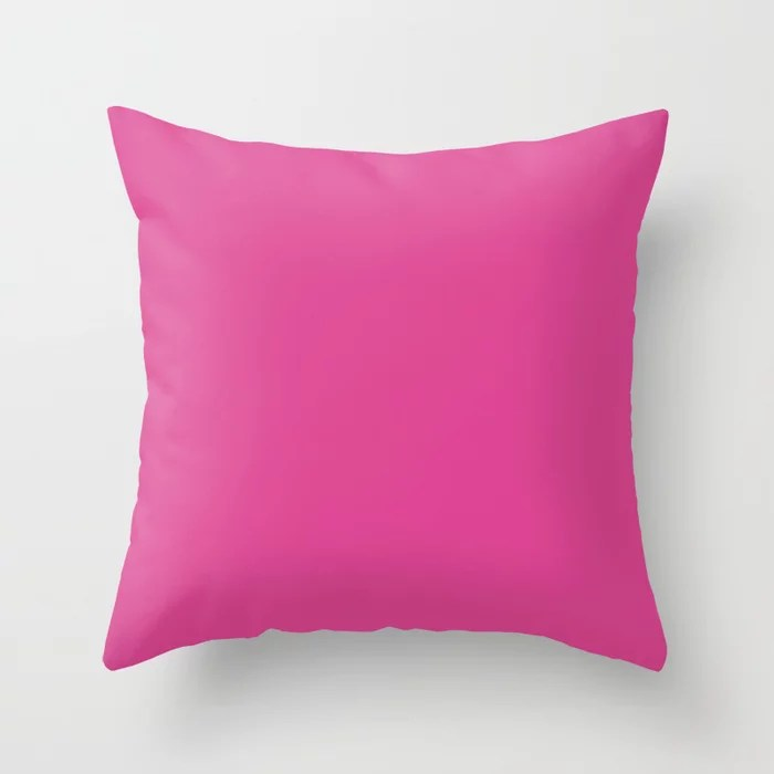 From The Crayon Box – Eggplant - Bright Pink Purple Solid Color Throw Pillow