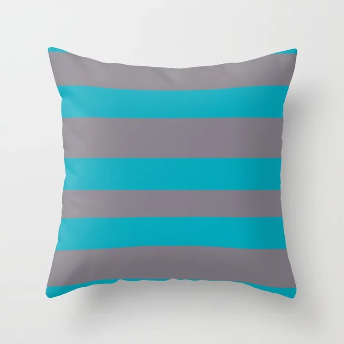 Aqua Blue and Gray Wide Stripe Pattern 2021 Color of the Year AI Aqua and Good Gray Throw Pillow