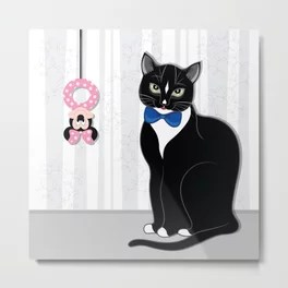 Cat with Toy Metal Print
