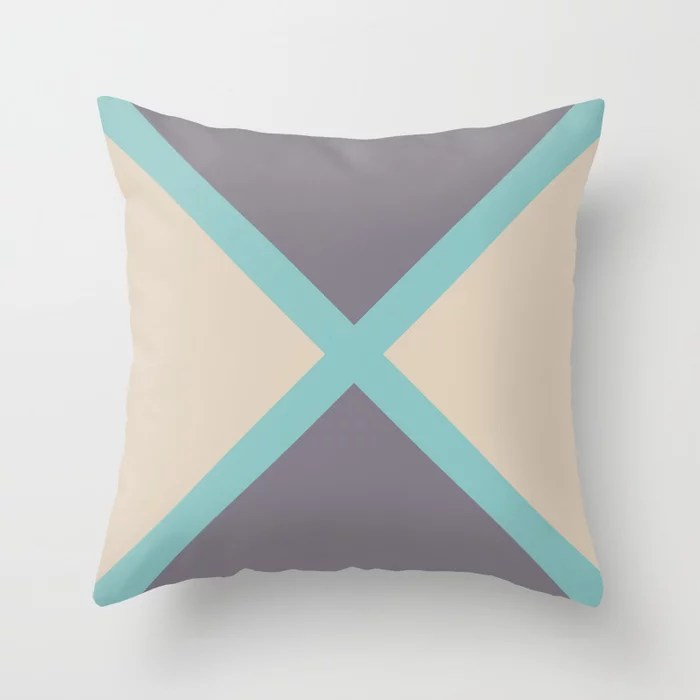 Aqua Beige Purple Minimal Diagonal Stripes Pattern 2021 Color of the Year Aqua Fiesta & Accent Shade Throw Pillow