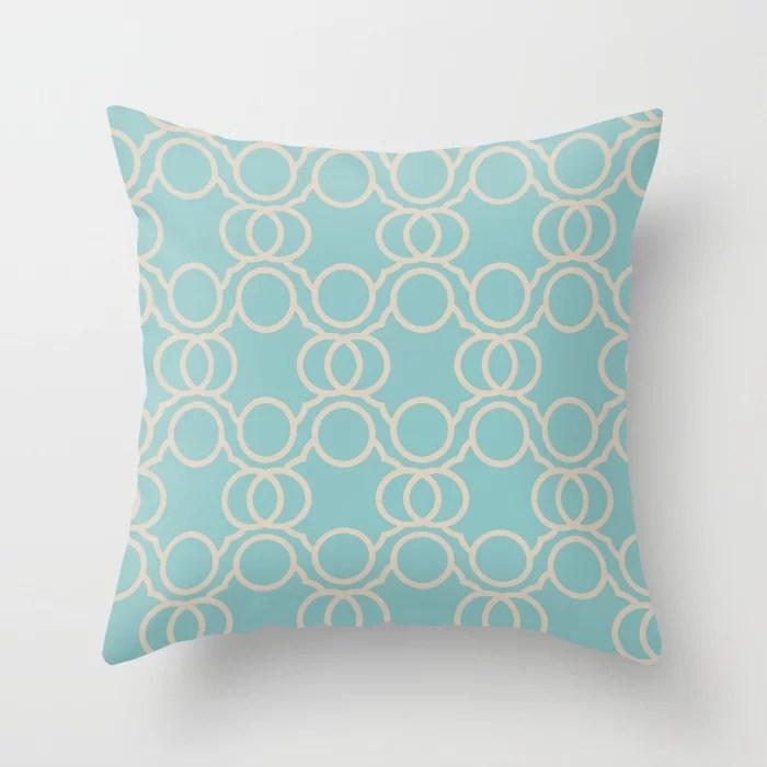 Aquamarine Beige Geometric Circle Pattern V2 Color of the Year Aqua Fiesta and Sourdough Throw Pillow
