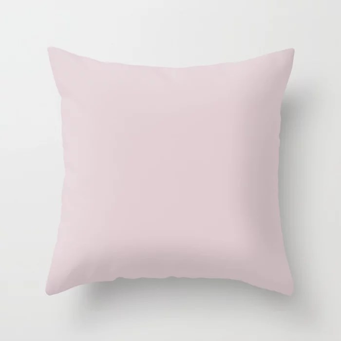 Ultra Light Pastel Pink Purple Solid Color (Hue / Shade) Matches Sherwin Williams Rosebud SW 6288 Throw Pillow