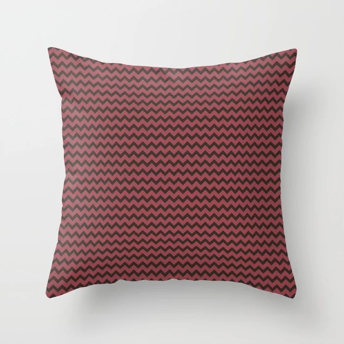 Red and Brown Chevron Zigzag Line Pattern 2021 Color of the Year Passionate & Dark Bronzetone Throw Pillow