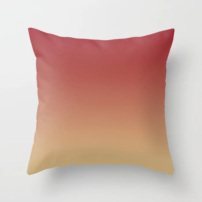 Red and Beige Gradient Ombre Blend 2021 Color of the Year Satin Paprika and Sunlit Brass Throw Pillow