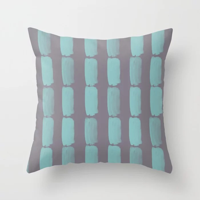 Pastel Teal and Purple Grid Brushstroke Pattern 2021 Color of the Year Aqua Fiesta and Magic Dust Throw Pillow