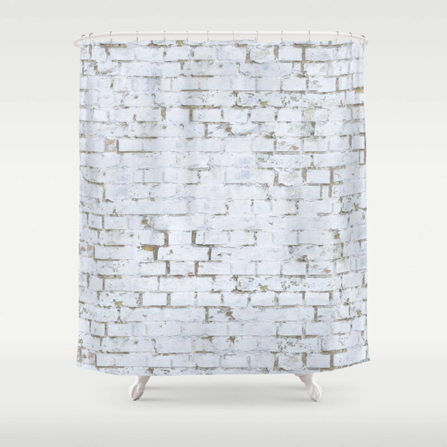 Vintage White Brick Wall Shower Curtain By Patternmaker Society6