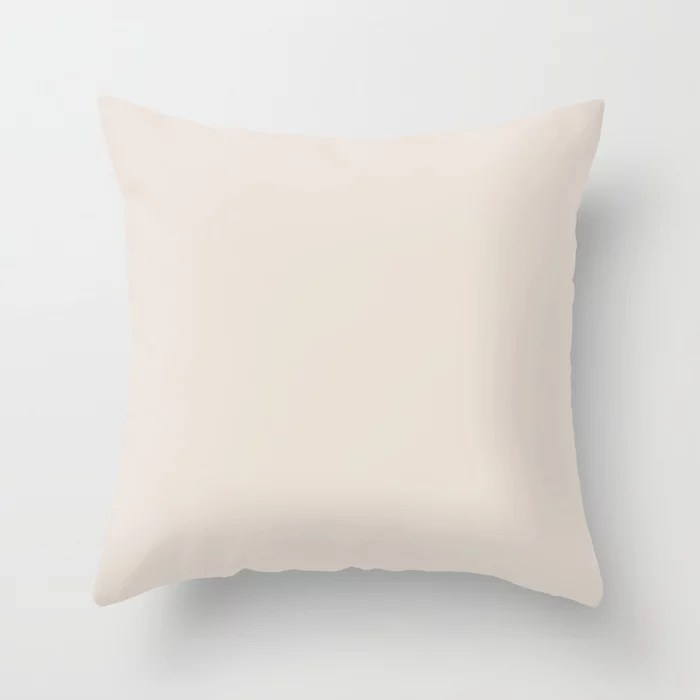 Creamy Off White Solid Color Behr 2021 Color of the Year Accent Shade Smokey Cream N190-1 Throw Pillow