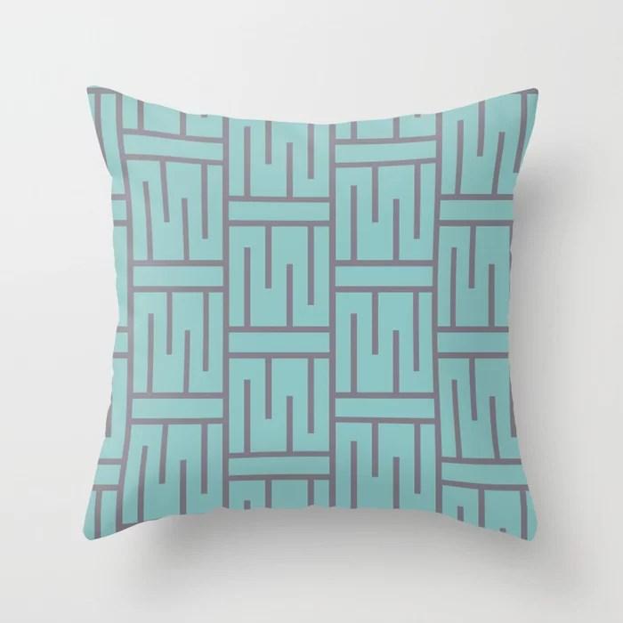 Pastel Aqua and Purple Minimal Line Art Pattern 3 2021 Color of the Year Aqua Fiesta and Magic Dust Throw Pillow