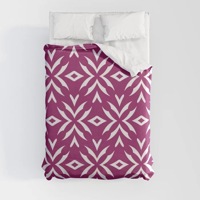 Magenta and White Abstract Flower Pattern - Colour of the Year 2022 Orchid Flower 150-38-31 Duvet Cover - color for 2022