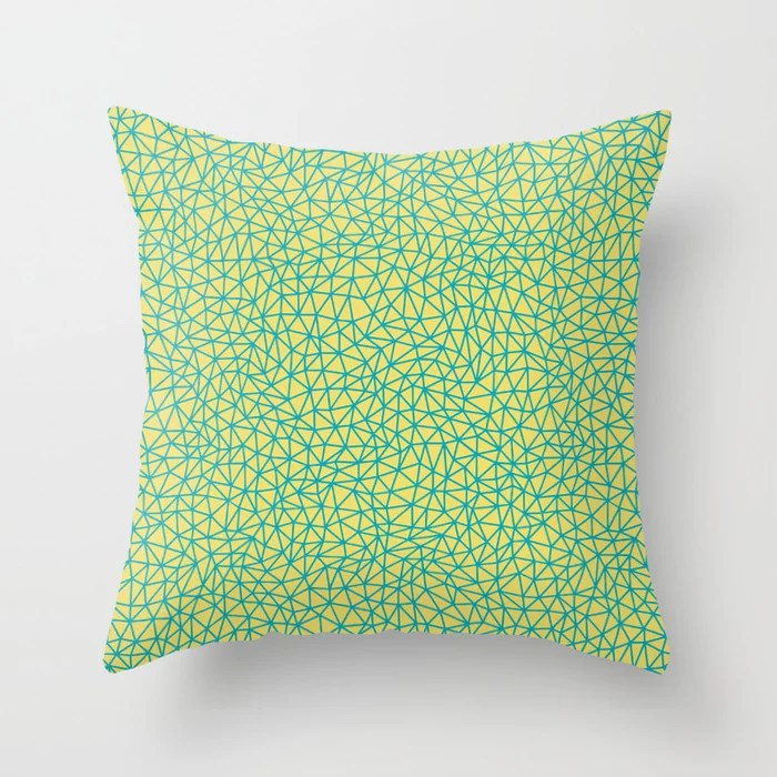 Aqua Blue and Yellow Triangle Shape Pattern 2021 Color of the Year AI Aqua and Lemon Sherbet Throw Pillow