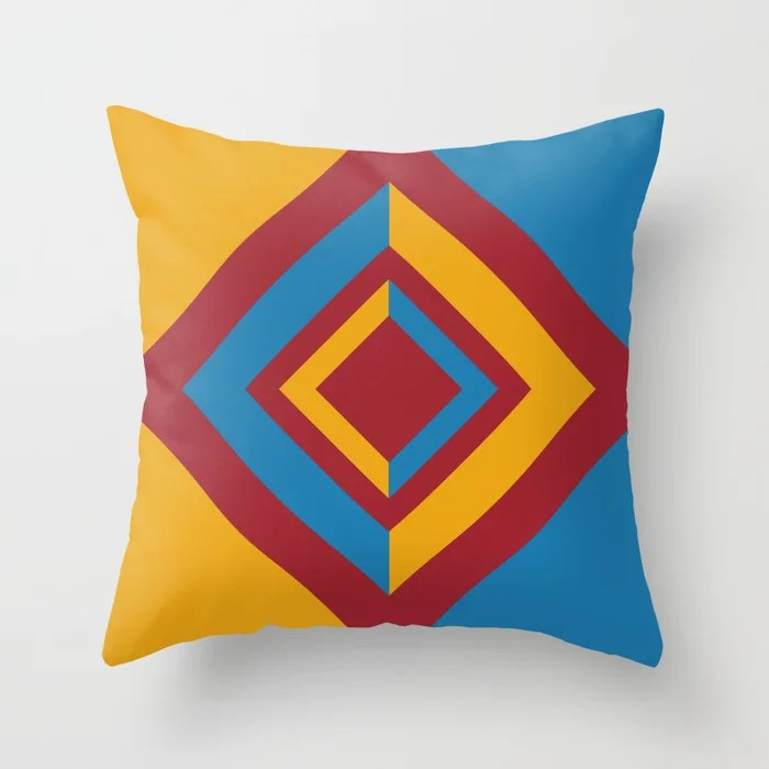 Red Orange Blue Geometric Diamond Shape Design 2021 Color of the Year Satin Paprika & Accent Shades Throw Pillow
