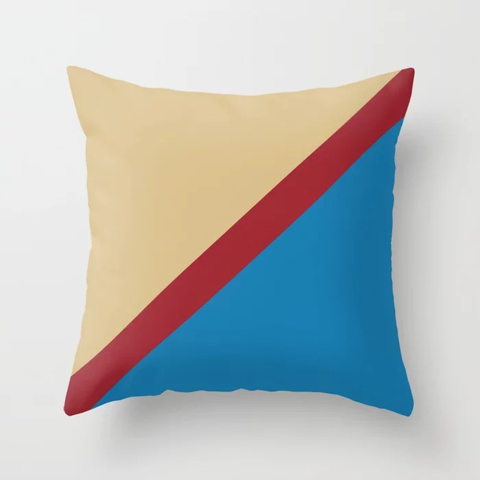 Blue Beige Red Diagonal Stripe Pattern Rustoleum 2021 Color of the Year Satin Paprika & Accents Throw Pillow