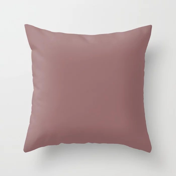 Dark Mauve Pink Solid Color Accent Shade / Hue Matches Sherwin Williams Rose Brocade SW 0004 Throw Pillow