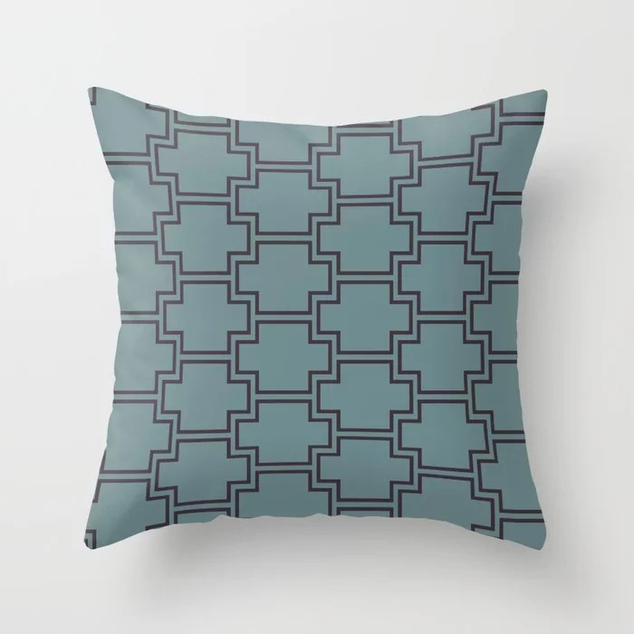 Blue-Green Purple Line Pattern 2 Ornamental Box 2021 Color of the Year Aegean Teal Tulsa Twilight Throw Pillow