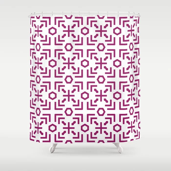 Magenta and White Art Deco Abstract Pattern - Colour of the Year 2022 Orchid Flower 150-38-31 Shower Curtain - 2022 colour trends interior decorating fuchsia - purple - pink