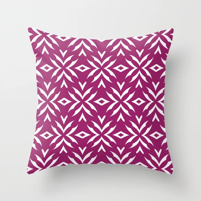 Magenta and White Abstract Flower Pattern - Colour of the Year 2022 Orchid Flower 150-38-31 Throw Pillow