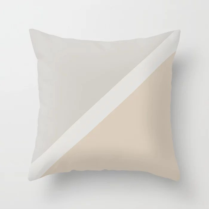 Light Beige White Gray Minimal Stripe Design: Hues were inspired by and match (pair / coordinate with) 2021 Color of the Year Uptown Ecru & Swedish Grey Throw Pillow