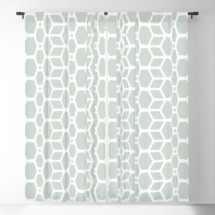 Mint Green and White Tessellation Line Pattern 4 Behr 2022 Color of the Year Breezeway MQ3-21 Blackout Curtain. Decorating colors for 2022