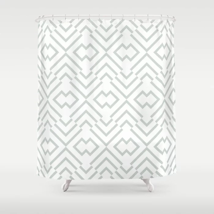 Mint Green and White Art Deco Shape Pattern Behr 2022 Color of the Year Breezeway MQ3-21 Shower Curtain. 2022 color trend