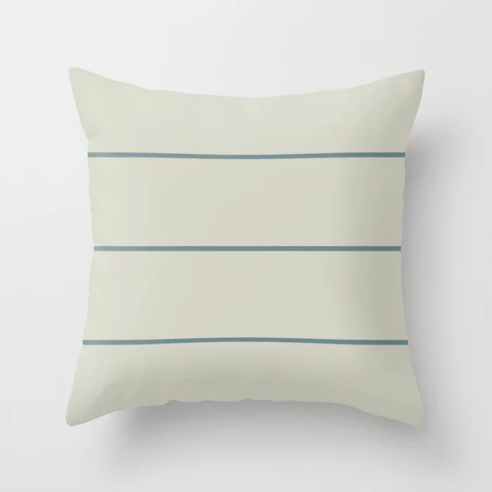 Muted Aqua and Beige Thin Stripe Pattern 2021 Color of the Year Aegean Teal and Sweet Spring Throw Pillow