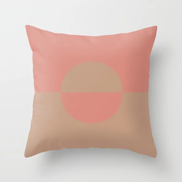 Sand Storm Beige Pastel Pink Circle Design 2 Behr 2021 Color of the Year Canyon Dusk Indian Sunset Throw Pillow