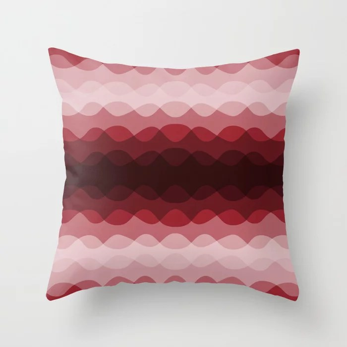 Red Overlapping Wavy Line Pattern Pairs To Satin Paprika Throw Pillow