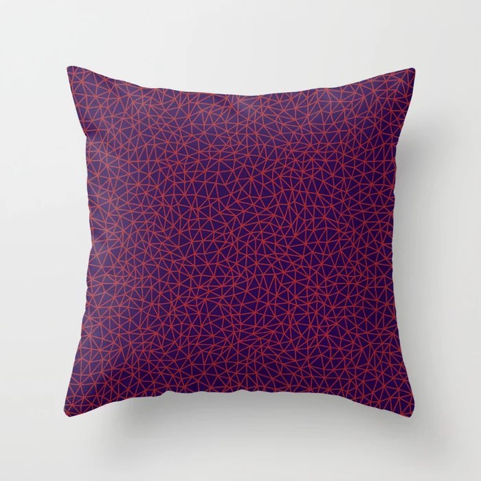 Red and Purple Triangle Shape Pattern Pairs Rustoleum 2021 Color of the Year Satin Paprika & Purple Throw Pillow