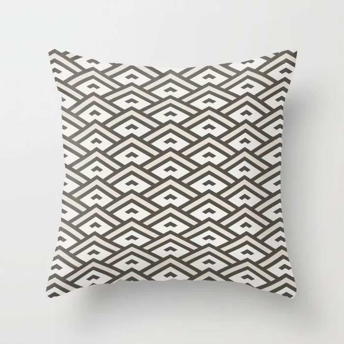 Brown Cream Off White Tessellation Line Pattern 31 2021 Color of the Year Urbane Bronze and Accents Throw Pillow