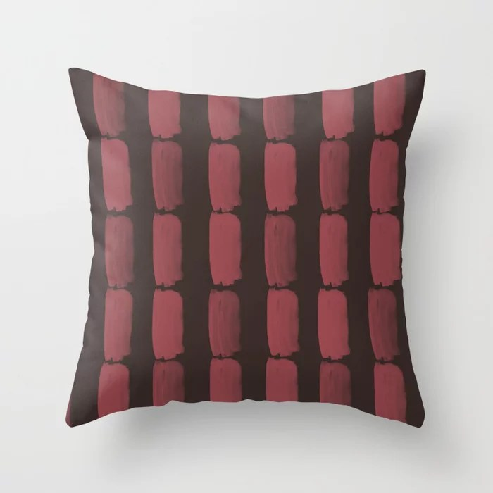 Red and Brown Grid Brushstroke Pattern 2021 Color of the Year Passionate & Dark Bronzetone Throw Pillow