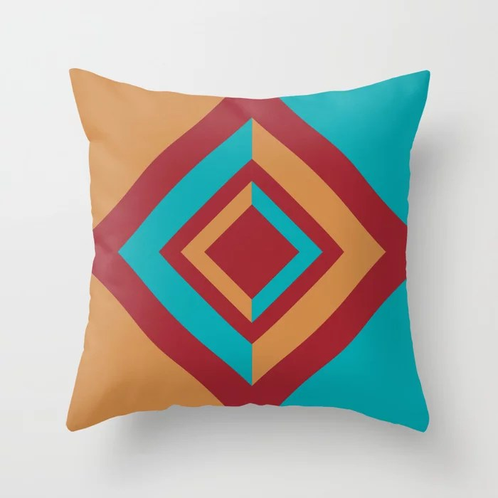 Red Orange Aqua Geometric Diamond Shape Design 2021 Color of the Year Satin Paprika & Accent Shades Throw Pillow