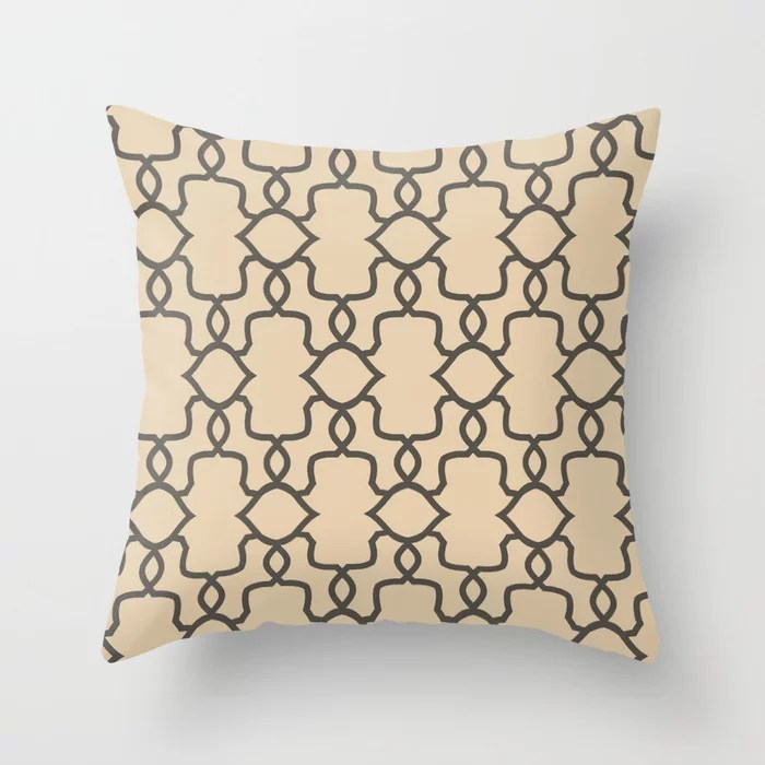 Brown and Tan Ornamental Shape Pattern 4 Throw Pillows match and coordinate with Sherwin Williams Paints 2021 Color of the Year Urbane Bronze and Ivoire