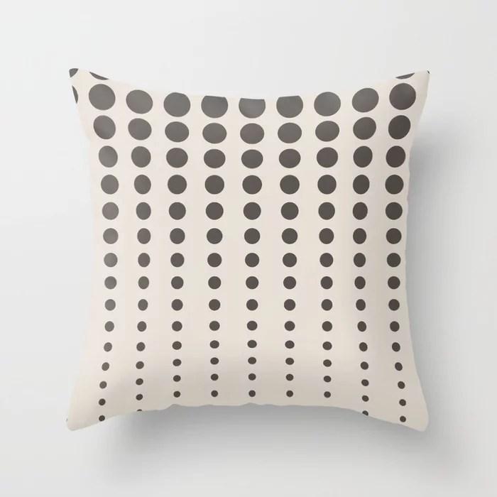 Dark Brown Cream Reduced Polka Dot Pattern 2021 Color of the Year Urbane Bronze and Shoji White Throw Pillow